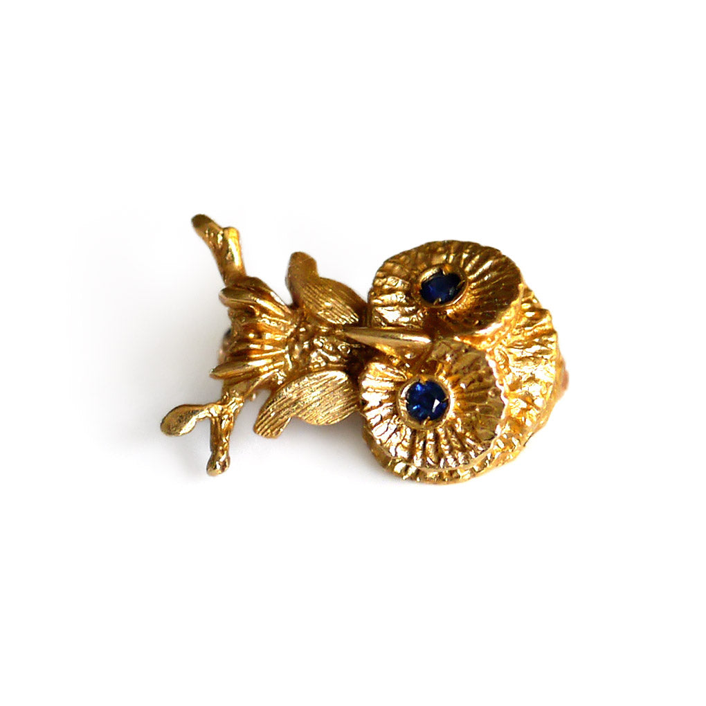 Vintage Gold Owl Brooch with Sapphire Eyes