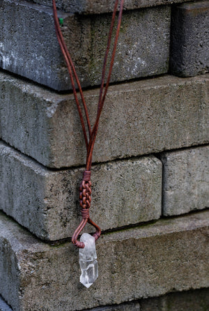 Quartz Sceptre Diamond Weave Necklace