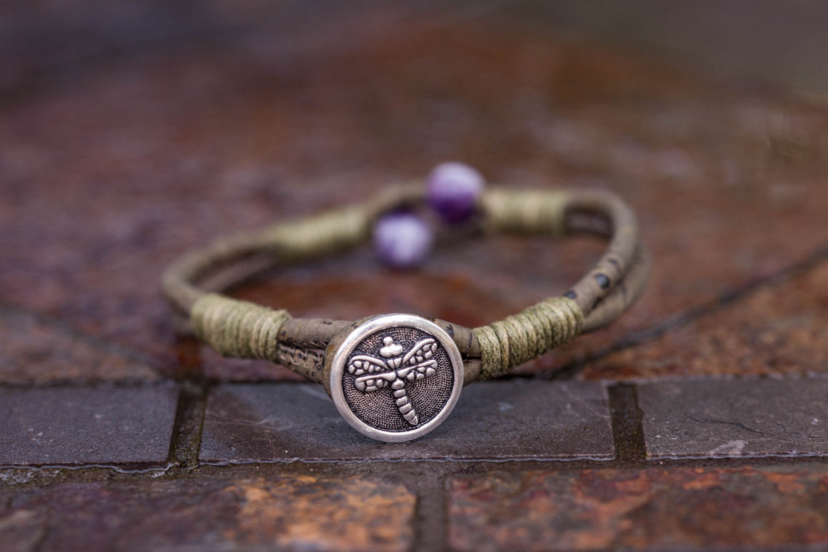 Amethyst Dragon Fly Bracelet