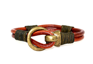 Genuine Leather Bronze Buckle Bracelet