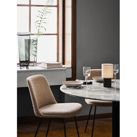Dining table In Between SK19, white marble, different metal leg finishes, Ø120