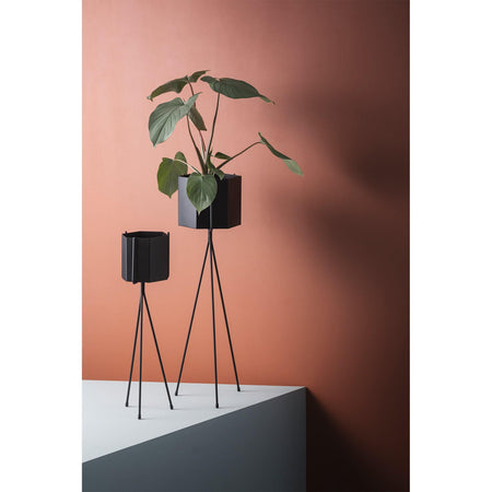 Flowerpot Hexagon, large Ø13.5cm, black
