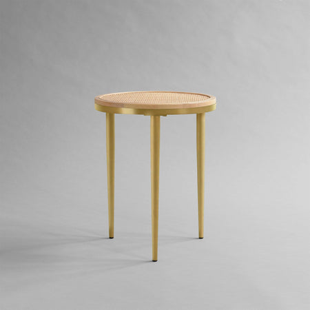 Side table Hako Ø40cm, island wood / brass