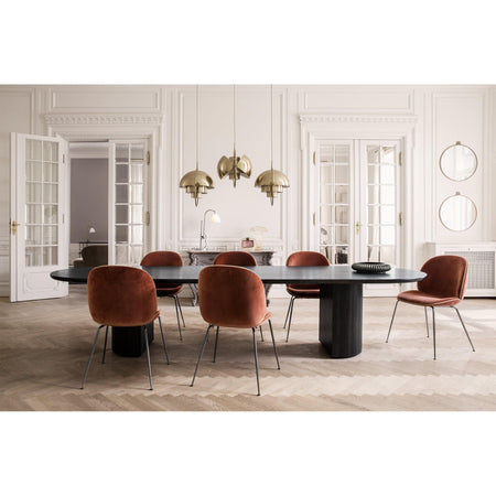Dining chair Beetle, fully upholstered, different fabrics and metal leg finishes - Nordic Design Home