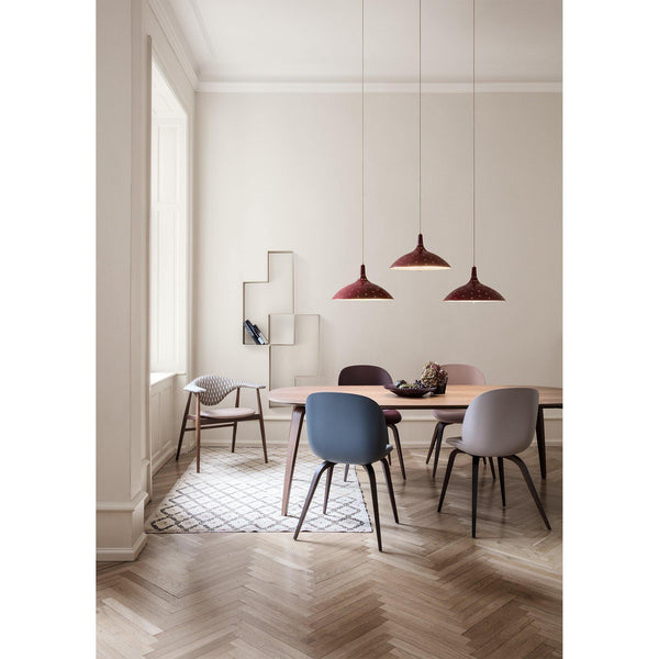 Beetle dining chair, with upholstered seat, different colors, fabrics and wood finishes - Nordic Design Home
