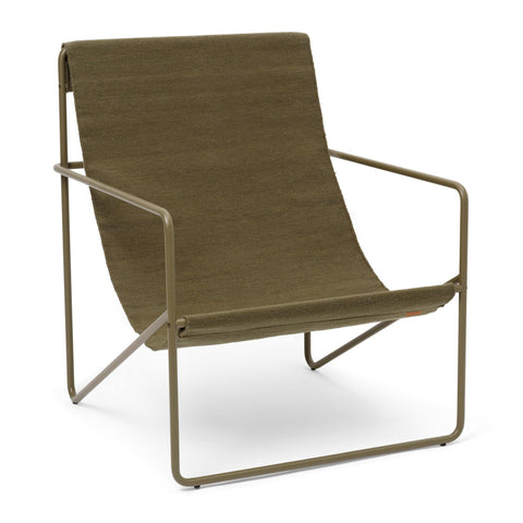 Armchair Desert, different frame colors / olive green fabric