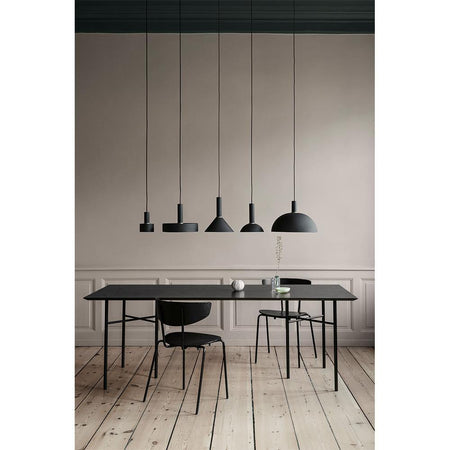 Mingle dining table, rectangular 210x90cm, with gray metal legs and black oak plywood board