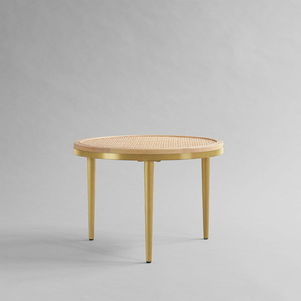 Coffee table Hako Ø50cm, island wood / brass