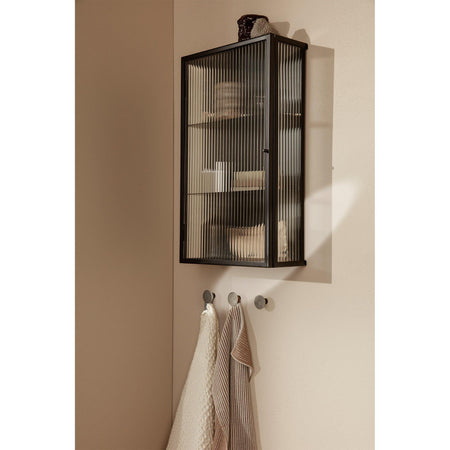 Wall cabinet Haze, lined glass, black, 35x60x15cm