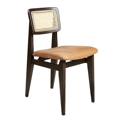 Dining chair C-Chair, French rattan wicker and upholstered seat / various fabrics and wood finishes - Nordic Design Home