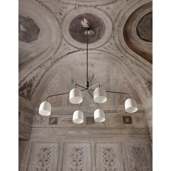 Chandelier Howard 133cm, with six lamp shades, gray / natural white porcelain - Nordic Design Home