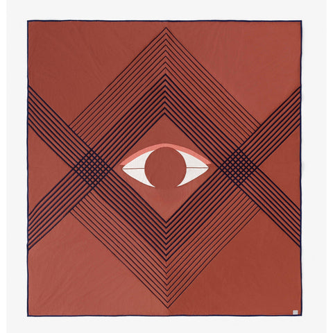 Bedspread The Eye AP9, 240x260cm, reddish brown