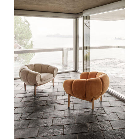 Armchair Croissant, different wood finishes and fabrics - Nordic Design Home