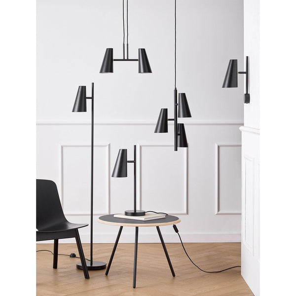 Ceiling lamp Cono, with two shades 42x21cm, black