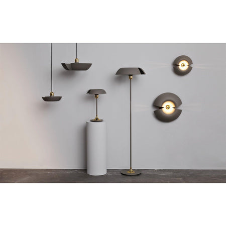 Ceiling lamp Cycnus, small Ø30cm, gray beige / brass