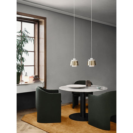 Dining table In Between SK19, white marble, different metal leg finishes, Ø120 - Nordic Design Home
