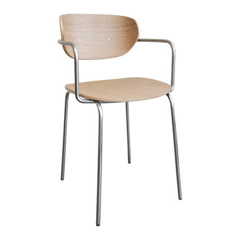 Dining chair Viggo, chrome & natural