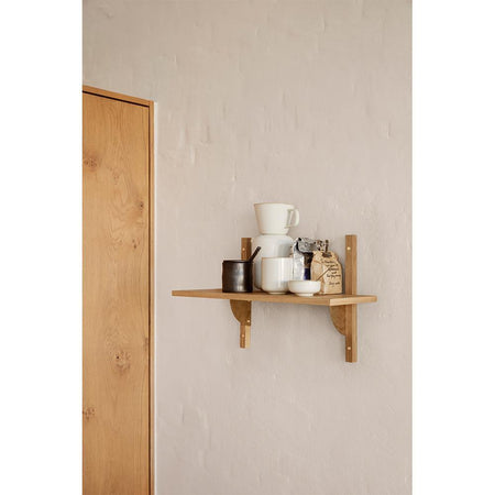 Shelf Sector 54cm, with one shelf and brass supports, different wood finishes - Nordic Design Home