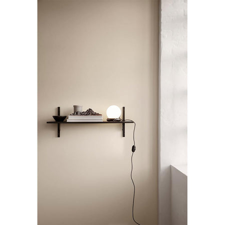 Shelf Sector 87cm, with one shelf and brass supports, different wood finishes - Nordic Design Home