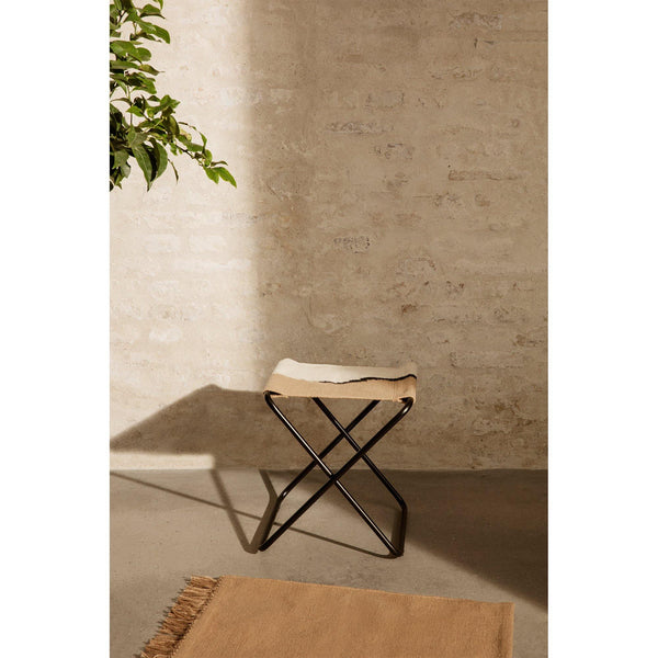 Stool Desert, black frame / olive green