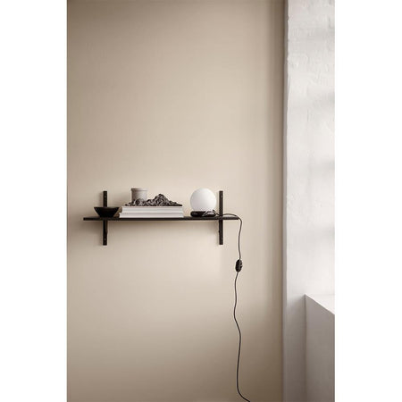 Shelf Sector 87cm, with one shelf and black brass supports, different wood finishes