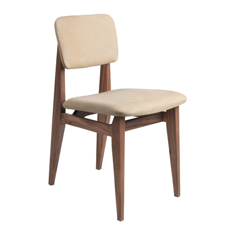 Dining chair C-Chair, upholstered seat and back / various fabrics and wood finishes - Nordic Design Home