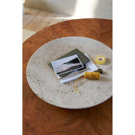 Plate SC55, Ø50cm, beige travertine