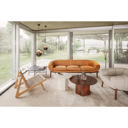 Sofa Croissant, 230cm, different wood finishes and leather upholstery - Nordic Design Home
