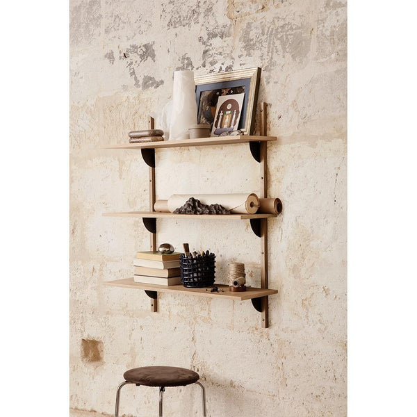 Shelf Sector 87cm, with three shelves and brass supports, different wood finishes - Nordic Design Home