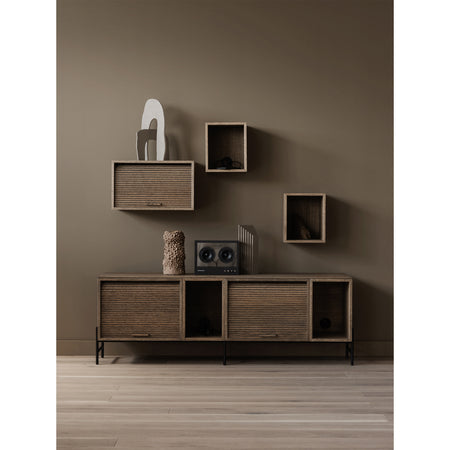 Chest of drawers / wall cabinet Hifive 100cm, high, different wood finishes, with legs