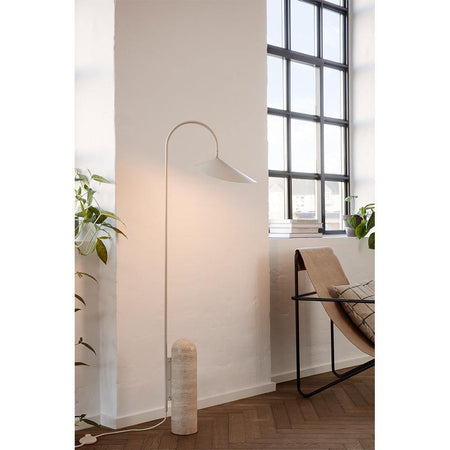 Floor lamp Arum, cream-beige / travertine