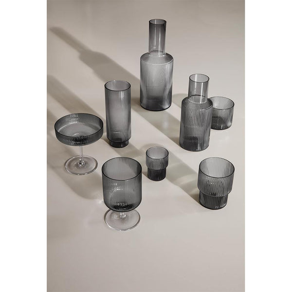 Glass Ripple, smoked glass, set of four - Nordic Design Home