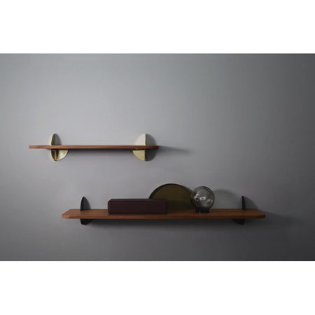 Wall shelf Aedes walnut and golden, large -30%
