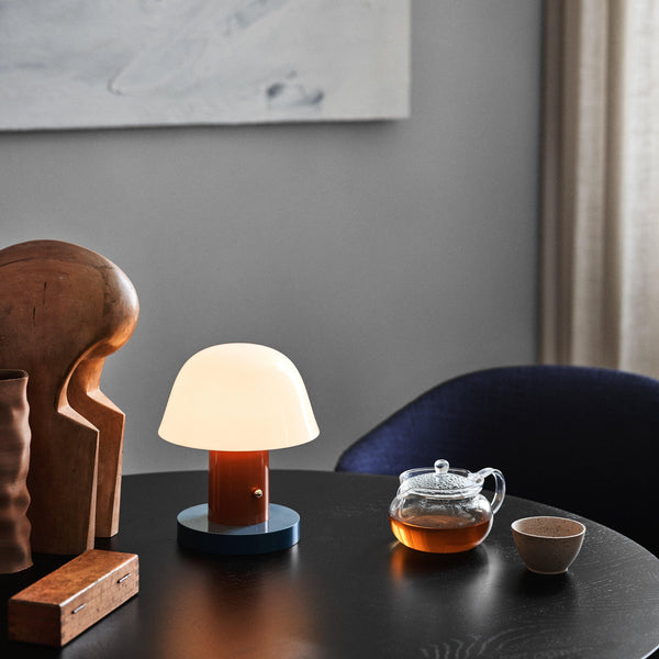 Wireless table lamp Setago JH27, rust brown and blue