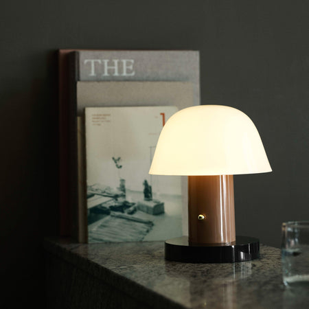 Wireless table lamp Setago JH27, beige and dark green