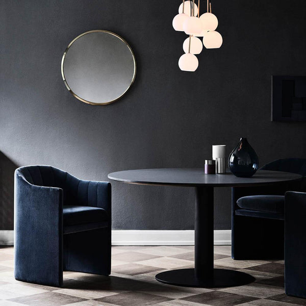 Dining table In Between SK12 Ø120cm, different metal and wood finishes