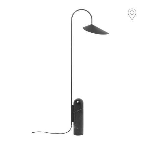 Floor lamp Arum, black / black marble