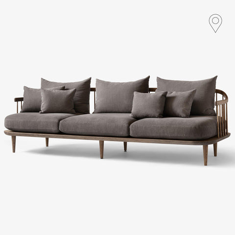 Sofa Fly SC12, three-seater, different fabrics and wood finishes - Nordic Design Home