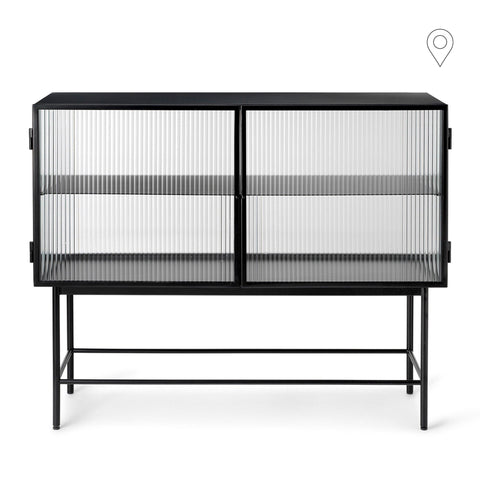 Chest of drawers Haze, lined glass, black, 110x40xh90cm