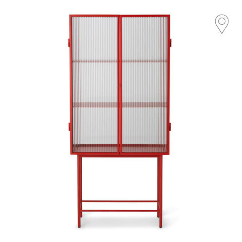 Showcase Haze, lined glass, red, 70x32xk155cm
