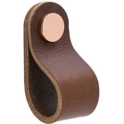 Brown leather handle 'Loop' with rounded edge NDH Handle - Nordic Design Home