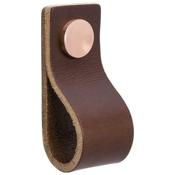 Brown leather handle Loop with square edge NDH Handle - Nordic Design Home