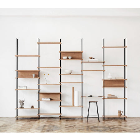 Shelving system with desk Set 15, different wood finishes