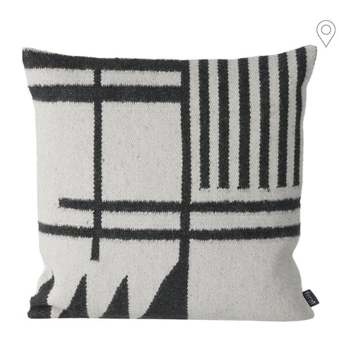 Decorative pillow Kelim Black Lines 48x48cm