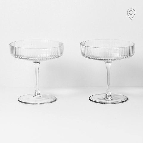 Champagne glass Ripple, untinted glass, double set