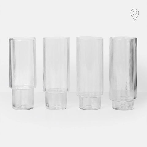 Cocktail glass Ripple, untinted glass, set of four - Nordic Design Home