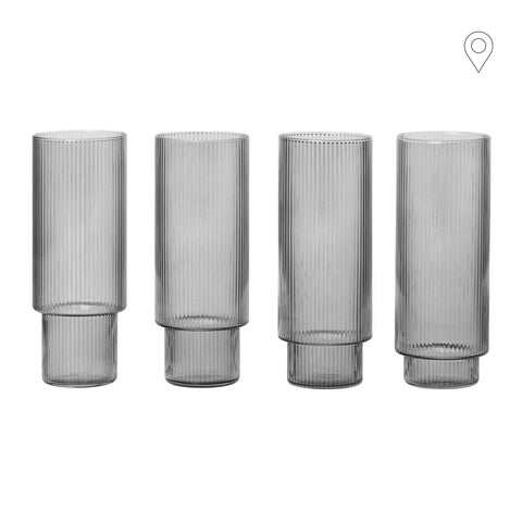 Cocktail glass Ripple, smoked glass, set of four - Nordic Design Home