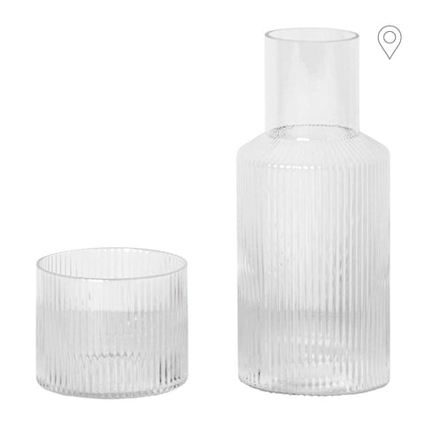 Set - decanter and glass Ripple, untinted glass - Nordic Design Home