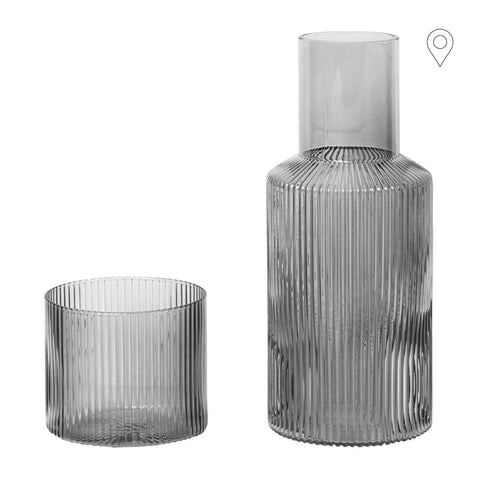 Set - decanter and glass Ripple, smoked glass - Nordic Design Home