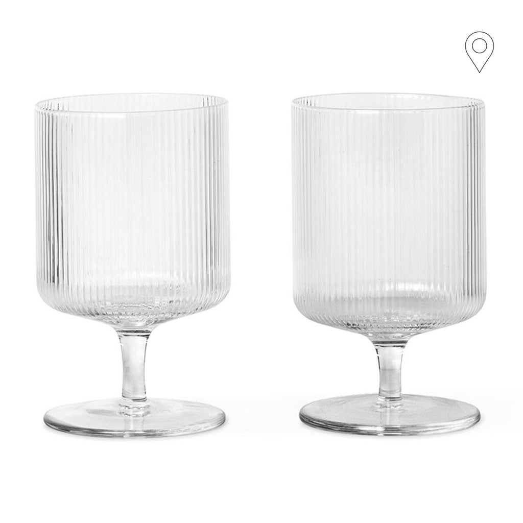 Wine / juice glass Ripple, untinted glass, double set - Nordic Design Home